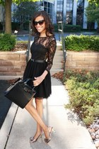 black a-line and lace asos dress - black guccii bag - black H&M belt