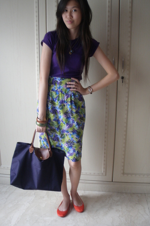 Zara shirt - unknown brand skirt - Zara shoes - longchamp accessories - Forever2
