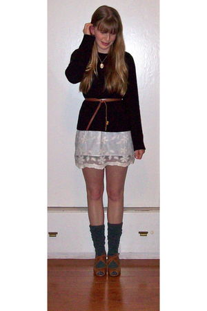 black tory burch sweater - white Forever 21 dress - gold Forever 21 necklace - b