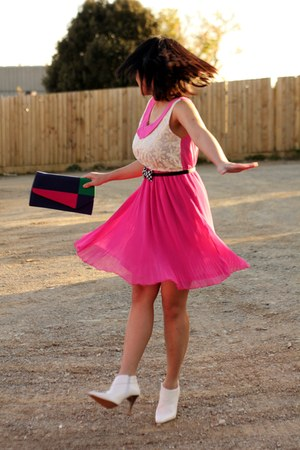 hot pink pleated skirt TK Maxx dress - white vintage new look shoes