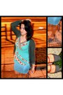 Dark-green-d-m-cardigan-turquoise-blue-cotton-on-skirt-green-top