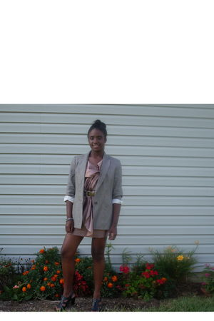 silver Zara blazer - pink Forever21 dress - brown belt - black shoes