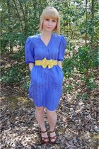 blue thrifted dress - gold Wet Seal belt - brown journeys shoes