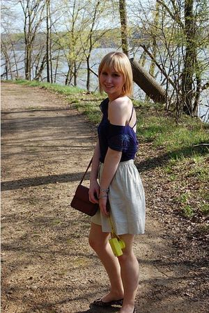 beige Forever 21 DIY skirt - brown DSW shoes - purple Urban Outfitters shirt