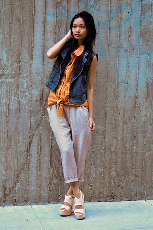 Blue-forever-21-vest-orange-american-apparel-blouse-beige-aryn-k-pants-bei