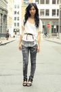gray intermix jeans - black Dolce Vita shoes - white from crossroads Zara shirt