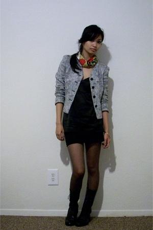 scarf - blazer - Diane Von Furstenberg top - f21 skirt - boots