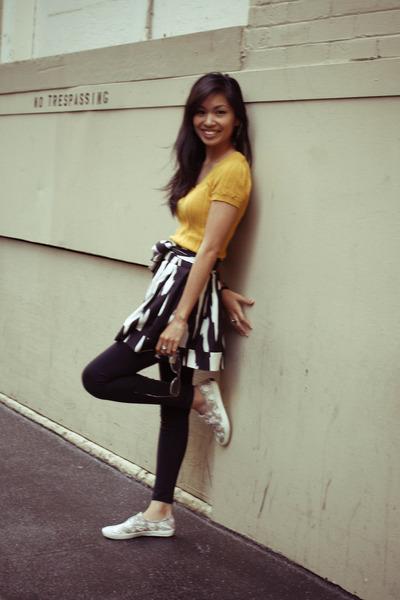 orange Forever 21 shirt - beige Keds shoes - black Forever 21 tights