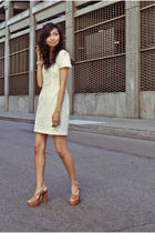 beige lace French Connection dress - brown Jeffrey Campbell shoes