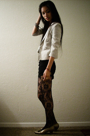 vintage blazer - Express tights - Yves Saint Laurent shoes - random dress