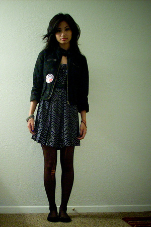 DKNY jacket - vintage dress - CVS tights - OBAMAAAA accessories