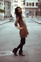 brown Gap cardigan - black Mia boots - beige free people dress