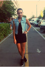 Sky-blue-jacket-black-shirt-black-skirt-black-sneakers-silver-watch