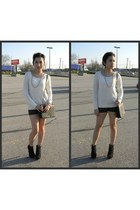 white sweater - black leather shorts