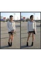 white sweater - black leather shorts