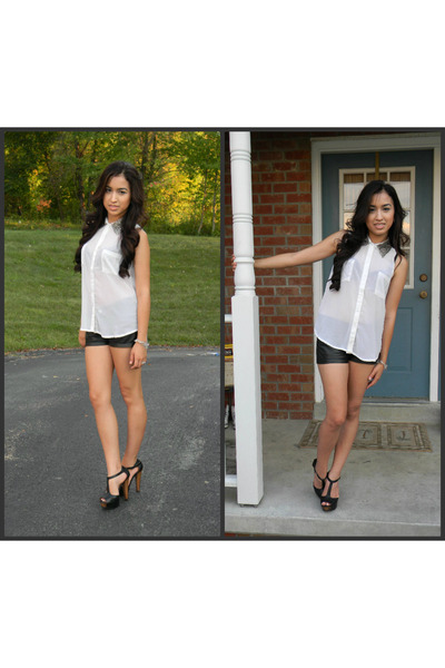 white blouse - black leather shorts - heels