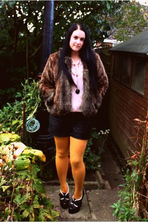 yellow asos tights - black asos shorts - pink tesco blouse - brown Marks &amp; Spenc