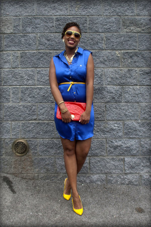 blue silk shirtdress SuperTrash dress - red Forever 21 purse - yellow Forever 21