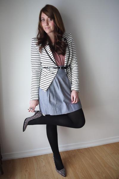 chambray Smart Set skirt - striped Forever 21 blazer - H&M blouse