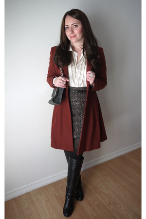 tweed Suzy Shier skirt - JustFab boots - flared H&M coat - Smart Set bag