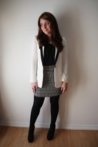 houndstooth Suzy Shier skirt - tuxedo Forever 21 blazer - embellished Rickis top