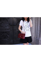 black wildfox couture dress - ruby red Chanel bag - white eLUXE t-shirt