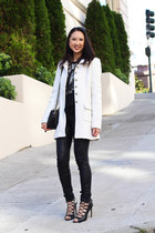 white Francescas Collections coat - black kate spade bag