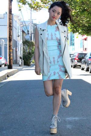 leather Pixie Market vest - tie-dye bodycon Esther dress - Deandri heels
