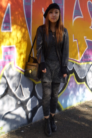 hat - jacket - dress - tights - tony bianco boots - purse