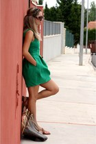 green Zara dress - dark brown Louis Vuitton bag - Prada sunglasses