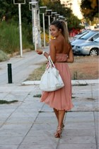peach H&M skirt - white Kem bag - nude Zara heels - Zara belt