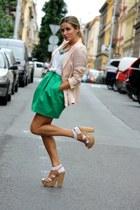 olive green Zara dress - light pink Zara blazer - off white H&M t-shirt