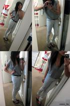 gray Sportsgirl jeans - gray top - brown thrifted belt - black Philippines shoes
