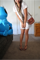 white from the Philippines dress - red Nina Ricci purse - brown thrifted shoes