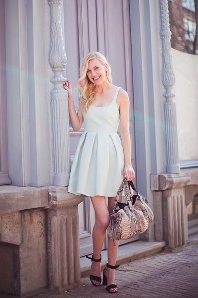 aquamarine Zara dress - silver Gérard darel bag - black Zara sandals