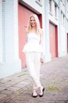 white Zara top - white H&M pants - black H&M sandals