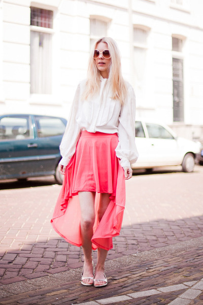 white 31 Phillip Lim blouse - coral H&M skirt - silver Prada sandals