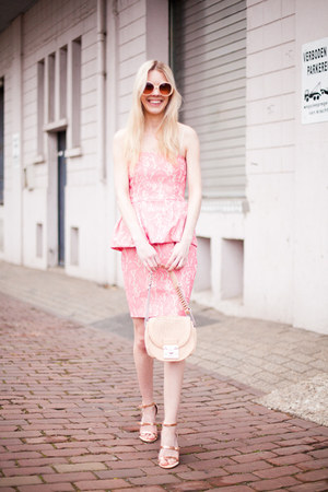 pink Zara dress - neutral Lucette bag - peach Zara sandals