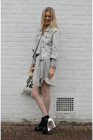 H&amp;M jacket - 31 phillip lim dress - Nine West shoes - DIY canvas Tote accessorie