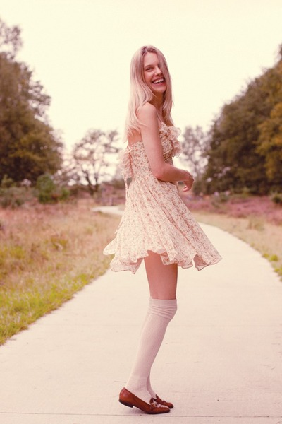 tan Urban Outfitters socks - eggshell modcloth dress