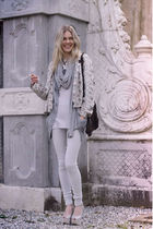 gray H&M cardigan - silver Topshop shoes - blue H&M leggings - silver H&M scarf