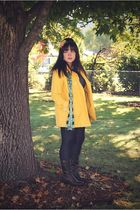 brown Frye boots - blue Old Navy leggings - yellow Gap coat - green Gap scarf