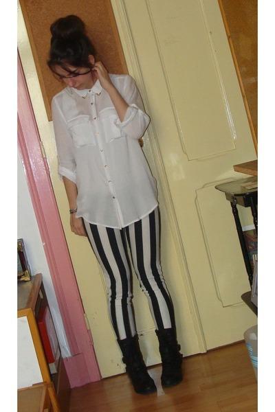 Pimkie boots - Bershka leggings - Pull and Bear blouse
