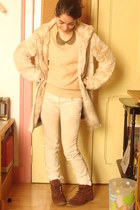 faux fur Pull and Bear coat - Zara shoes - vintage sweater