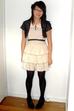top - Sunny Girl dress - vintage belt - Kmart shoes - tights