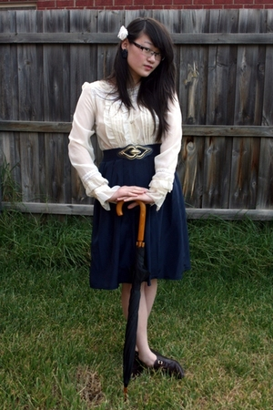 white Living Doll blouse - blue vintage skirt - blue vintage belt - brown vintag