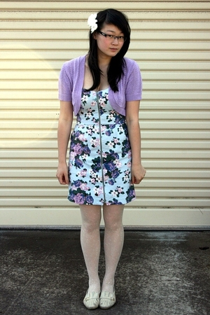 blue bardot dress - purple thrifted top - white thrifted tights - white thrifted
