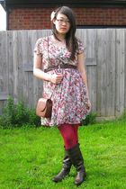 white savers dress - brown savers boots - red tights - brown vintage belt - brow