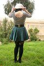 Green-h-m-skirt-black-glassons-top-white-vintage-hat-black-sunny-girl-legg