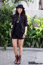 black Bik Bok hat - black vintage blazer - black Soule Phenomenon top - black So
